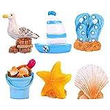 LUOEM 6Pcs Miniatur Nautische Dekorationen Ornamente Mediterranen Stil Küste Strandzimmer Gartendekoration für Schlafzimmer Wohnzimmer