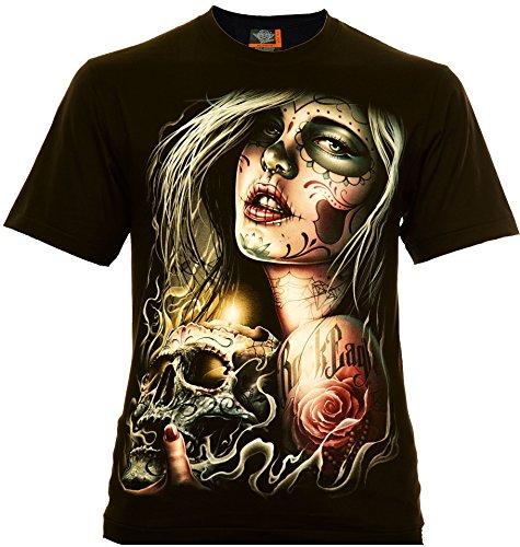 Santa Muerte with Skull Herren T-Shirt Schwarz Gr. L