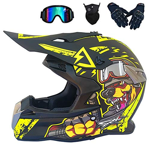 Lobo - Casco Motocross Negro Hombre (4Pcs/ Orejeras Desmontables) Adulto Casco MTB Enduro Integral para Scooter Descenso Racing Quad Downhill...