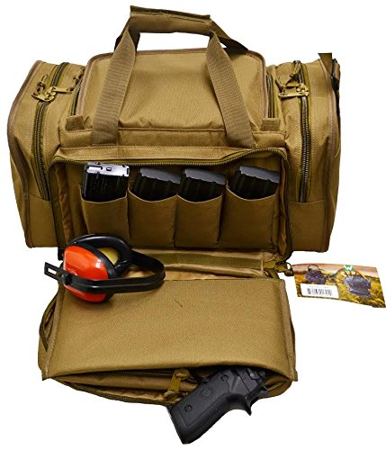 Ways Up R21-CT Gun Range Bag, Tactical Shooting Range Bag for Pistols with Divider and Pistol Pouch Included (Coyote Tan)