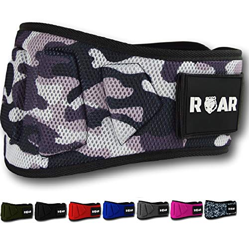 Roar® Cintura Palestra Uomo, Cintura Powerlifting, Cintura Bodybuilding, Cintura Pesi, Cintura Sollevamento Pesi,Cintura Crossfit,Cintura da Palestra,Cinta Powerlifting(Camuffamento 2, M)
