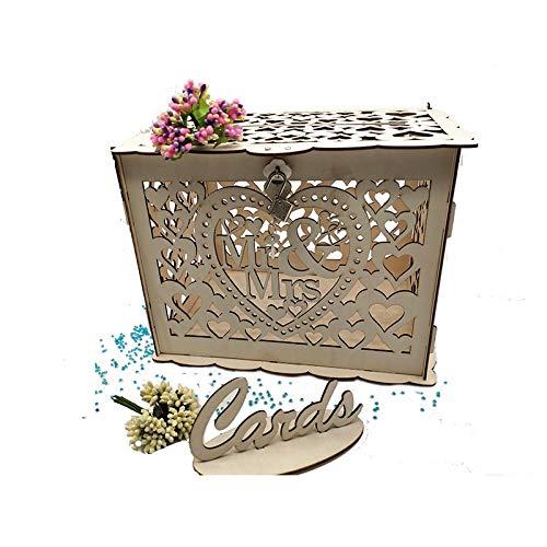 LLYX Anmeldung DIY Rustic Hohle Hochzeit Spardose mit Schloss und Karten aus Holz Gift Card Box for den Empfang Babyparty-Hochzeitstag-Partei-Dekorationen (Color : C)