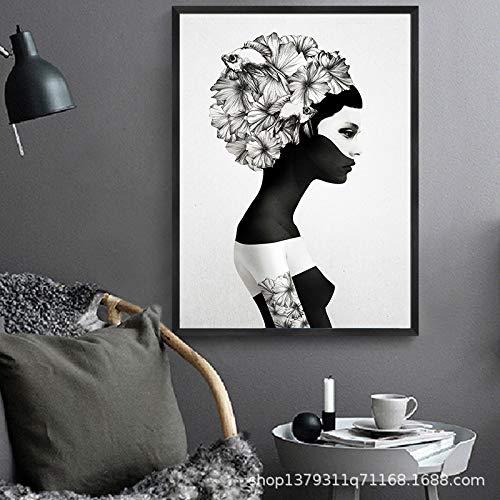 WSNDGWS Single Fashion Woman Pintura Decorativa Lienzo Pintura Decoración del hogar Lienzo Pintura Sin Marco de Imagen B1 30x40cm