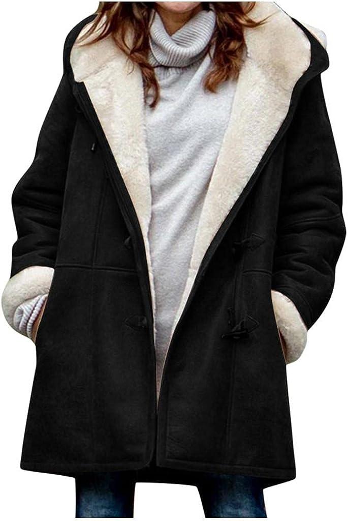 Women's Fleece Jacket Coat Irregular Hem Fuzzy Lined Outwear Plus Size Thick Trench Coats Sweatshirt Windproof Overcoat