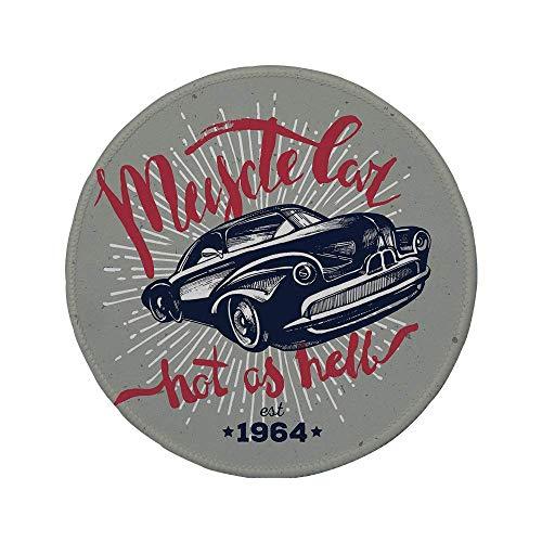 Rutschfeste Gummi-Runde Mauspad Autos heiß wie die Hölle Muscle Car Zitat Klassischer Vintage-Sportwagen in Marineblau Marineblau Rot Hellgrau 7,9 \'x 7,9\' x3MM
