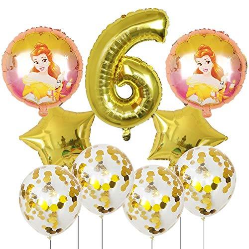 JSJJAET Globos de cumpleaños 9pcs Bella y la Bestia de Aluminio de 30 Pulgadas Globos Decoraciones de la Fiesta de cumpleaños número Globo Globos Princesa de la Muchacha (Color : 6)