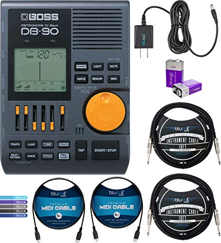 BOSS DB-90 Dr. Beat Metronome Bundle with Blucoil Slim 9V Power Supply AC Adapter, 2-Pack of 10-FT Straight Instrument Cables (1/4in), 2x 5' MIDI Cables, 2 9V Alkaline Batteries, and 5x Cable Ties
