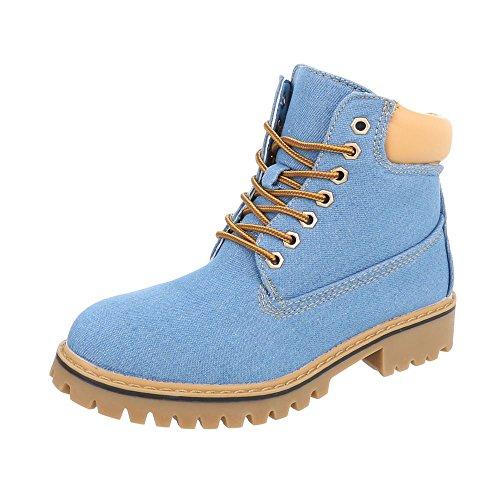 Ital Design Schnürstiefeletten Damen-Schuhe Schnürstiefeletten Blockabsatz Schnürer Schnürsenkel Stiefeletten Hellblau, Gr 39, H942-