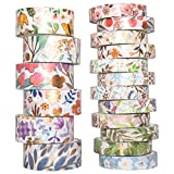 YUBBAEX Washi Tape Set cinta adhesiva decorativa Flor Oro Washi Glitter Adhesivo de Cinta Decorativa para DIY Crafts Scrapbooking 18 Rollos 8/15mm ancho