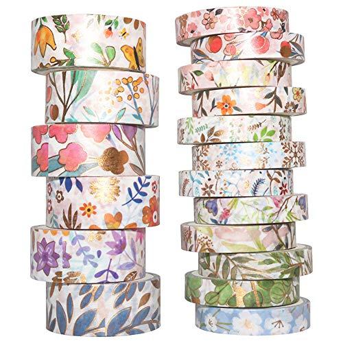 Yubbaex Washi Tape Set cinta adhesiva decorativa Washi Glitter Adhesivo de Cinta Decorativa para DIY Crafts Scrapbooking (Floración 18 Rollos)