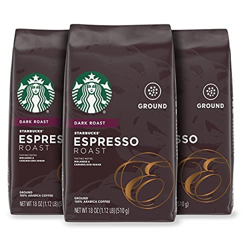 Starbucks Dark Roast Ground Coffee — Espresso Roast — 100% Arabica — 3 bags (18 oz. each)