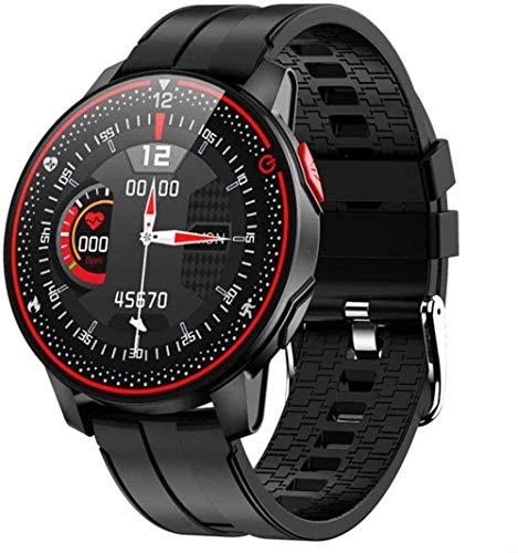 JSL Reloj inteligente inteligente con monitor de frecuencia cardíaca y presión arterial para hombre con pantalla táctil completa impermeable
