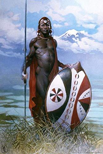 ポスター フランクフラゼッタのマサイ族の戦士 A4サイズ [インテリア 壁紙用] 絵画 アート 壁紙ポスター