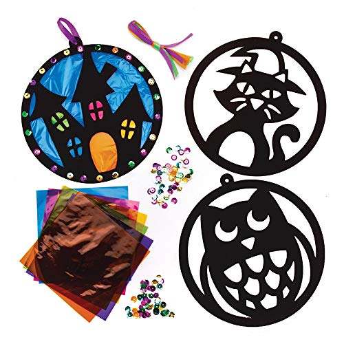 Baker Ross AW876 Stained Glass Decoration Kits for Kids to Display and Create, Perfect, Party Games and More (Pack of 6), Assorted
