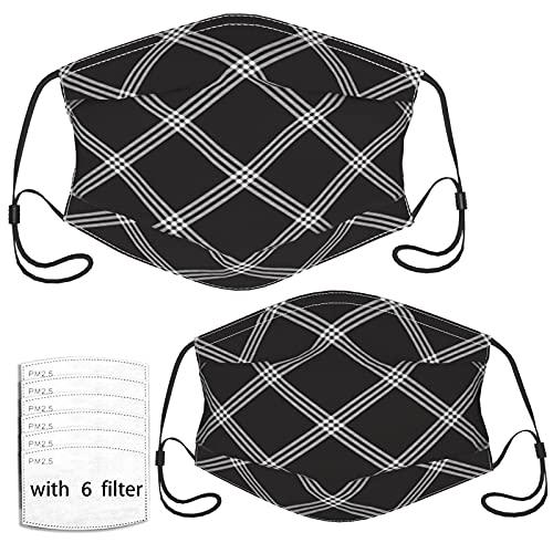 Spalier-Zaun-Muster, weiße Linien auf Schwarz, 2 Stück für Erwachsene und Kinder, coole Gesichtsmasken – 6 Filter, wiederverwendbar für Männer, Frauen, Mädchen, Jungen