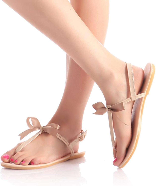 Women Summer Korean Version Low Flat Heel Flip Flop Sandals Clip on Bow shoes,gold,37