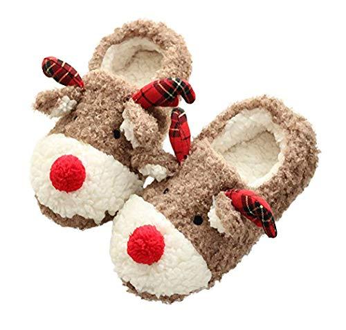 Women Warm Christmas Reindeer Slippers, Fleece Slip Ladies Girls Cartoon Soft Antiskid Plush Indoor Home Winter Slippers Shoes (8-9) Brown