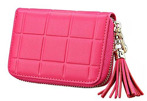 iSuperb Porta Carte di Credito in Vera Pelle Credit Card Holder Wallet 15 Slot RFID Portafoglio Portamonete con Nappa per Donna e Ragazza 11x8x2.7cm (Rosa)