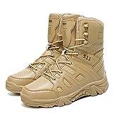 Bititger - Botas de desierto militares de piel, impermeables, con cremallera, botas tácticas y de combate para hombre, para patrullas, de seguridad, para policías, color Beige, talla 39 1/3 EU