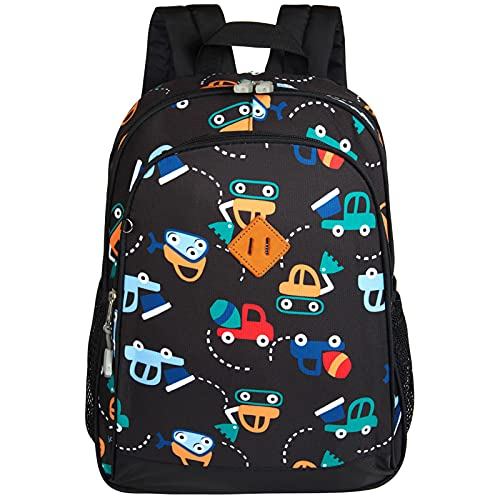 JinBeryl 15 Inch Toddler Backpack for Boys Kids School Bag Fits 3 to 7 years old, Cartoon Truck Black
