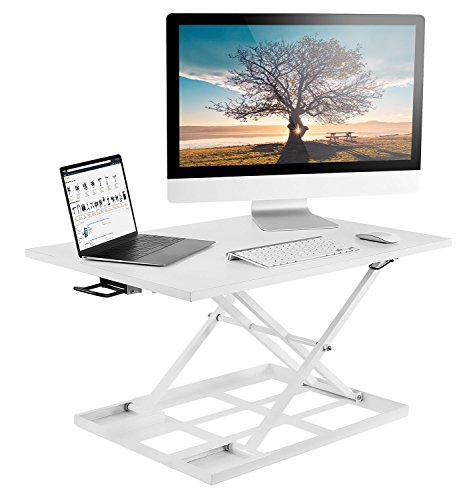Mount-It! Standing Desk Converter, Height Adjustable Sit Stand Desk, 32x22 Inch Preassembled Stand Up Desk Converter, Ultra Low Profile Design, White