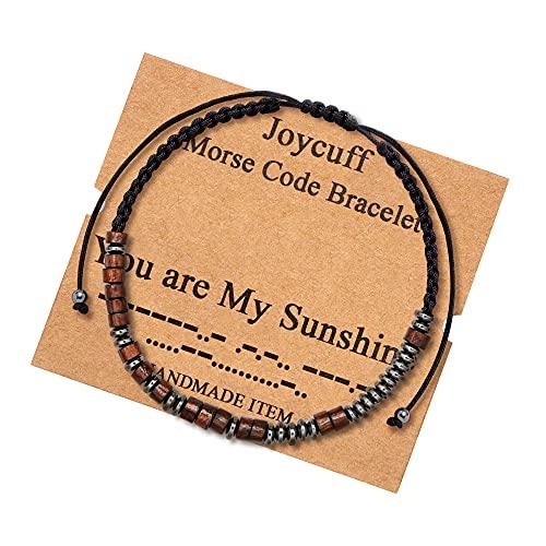 You Are My Sunshine Morse Code Bracelets for Women Gift for Men Women Boys Girls Birthday Christmas inspiraional Motivational Encouragement Gifts Cord Wrap Wood Beads Bracelets Gift