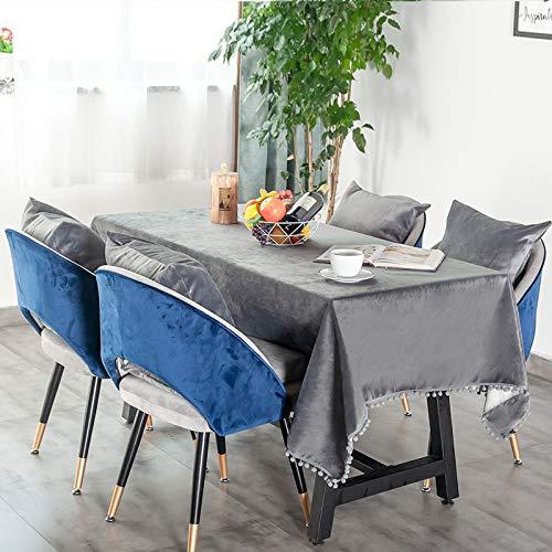 Damuzhi Verbrühschutz Tischdecke Einfarbig Rechteckiger Couchtisch Tischunterlage Fleece Wolle Ball Rand wasserdichte Tischdecke 140 * 200 cm (Flanell) Llllllll