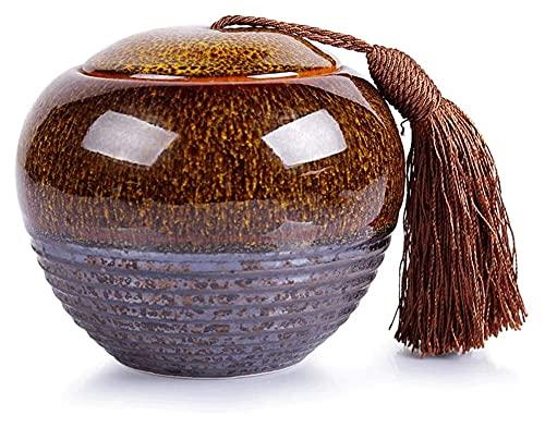 MTCWD Cremación de Mascotas urna para Cenizas humanas humanas pequeñas orillas conmemorativas de Horno Grande Variable de cerámica de cerámica sauvenir Jarra (Color : C, Size : 11x13cm)