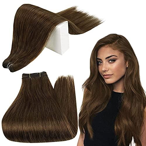 RUNATURE Weft Hair Extensions Human Hair 16 Inch Human Hair Weft Bundles 4 Chocolate Brown Sew in Hair Extensions 100g Human Hair Extensions Bundles Straight Hair