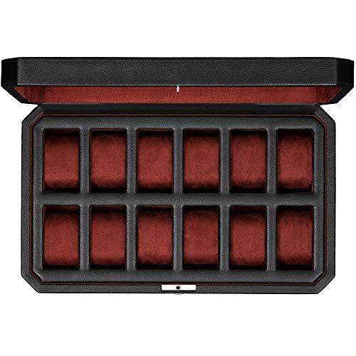 ROTHWELL Caja de reloj de cuero con 12 ranuras, organizador de exhibición de caja de reloj de lujo, soporte para cajas de almacenamiento para hombres(negro / rojo)