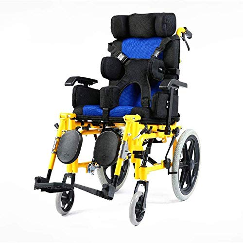 Gpzj Silla de Ruedas , Parálisis Cerebral Infantil Silla de Ruedas para discapacitados Ligero Coche Infantil Mesa Plegable con una disposición Plana , Acero Inoxidable