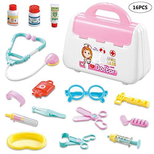 Kinderen Doctor Kits Box Pretend Play Toys Peuters Verpleegster van het ziekenhuis speelsets Educational Verjaardag met Koffer voor Ages 3+ (16 PCS),Pink