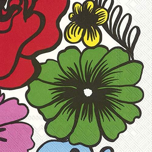 IHR Marimekko ELÄKÖÖN ELÄMÄ - Tovaglioli di Carta, Motivo Floreale, Confezione da 20, 33 cm, Quadrati