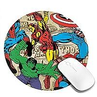インディゴマル® マーベル スーパーヒーロー マウスパッド マウスマット 丸型 円形 20*20*0.3cm ミニ マルチカラー オフィス用 ノンスリップ 滑り止め 耐久性が良い 防水 汚れにくい 掃除しやすい ゲーミングマウスパッド ノートパソコン コンピューター キーボード パターンマウスパッド デスクトップマウスパッド