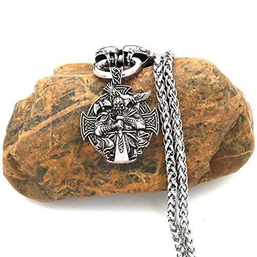 SBRTL Collares de amuletos Vikingos nórdicos, Colgantes de Guerrero Odin de Acero Inoxidable Mjolnir de Thor para Hombre, Cadena de Cabeza de Lobo, joyería pagana nórdica,B,70cm