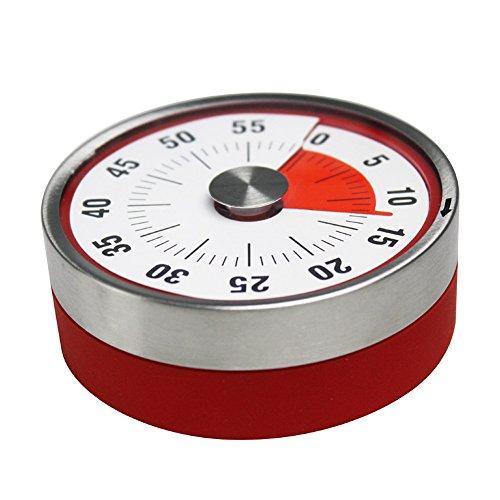 Mechanischer Kochwecker mit Wecker, Backerinnerung, Edelstahl, manueller Countdown, runde Form, magnetischer Küchentimer