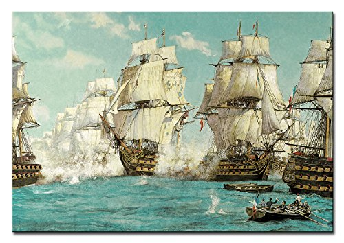 Berger Designs - Bild auf Leinwand als Kunstdruck in verschiedenen Größen. Segelschiff Schlacht auf hoher See. Beste Qualität aus Deutschland (120 x 80 cm (BxH))