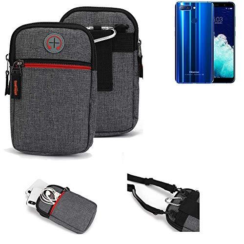 K-S-Trade® Gürtel-Tasche Für Hisense Infinity H11 Pro Handy-Tasche Holster Schutz-hülle Grau Zusatzfächer 1x
