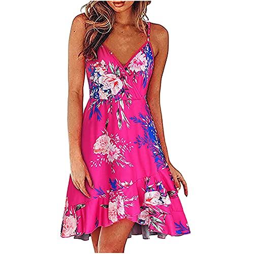 Sommerkleid Damen Knielang Kleider Sexy Ärmelloses Kleid Vintage Kleid Strandkleid A-Linie Minikleid Frauen Sommer Elegant Lang Casual Lose Kleid Strandkleider Freizeitkleider