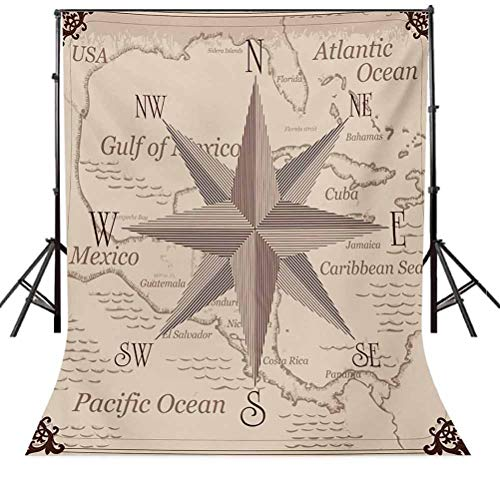 Compass 10x12 FT Backdrop Photographers,Bohemian Style Treasure Hunt Map with Small Compass Paint on It Manuscript Atlas Finding Background for Baby Shower Bridal Wedding Studio Photography Pictures