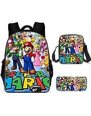 LIJUNQI Super Mario rugzak voor jongens, tieners meisjes rugzak kinderen Super Mario Bros schooltassen Lunch Bags Potlood Case 3-delige set