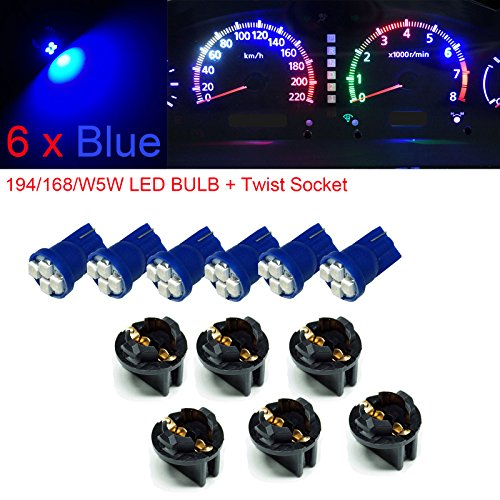 "PA 6x T10 168 194 Led instrument Panel Dash Light Bulb 1/2"" Twist Lock Socket Blue -12V"