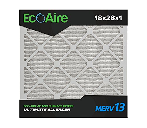 Eco-Aire 18x28x1 MERV 13, Pleated Air Filter, 18x28x1, Box of 6, Made in The USA