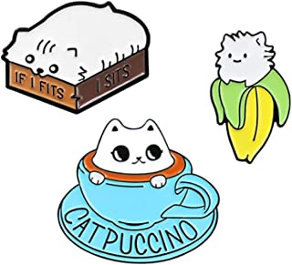 CAROMAY 3 PC Cappuccino Cat Brooches Cute Kitty Coffee Banana Enamel Lapel Pins Boys Girls Birthday Gift for Backpacks Clo...