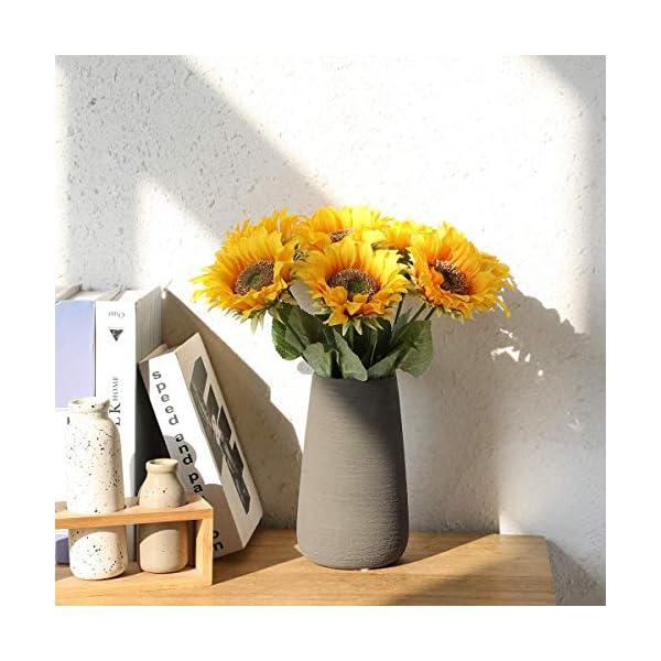 Hawesome 7 unidades de girasoles artificiales, ramo de flores artificiales para decoración de boda, salón, casa, oficina…