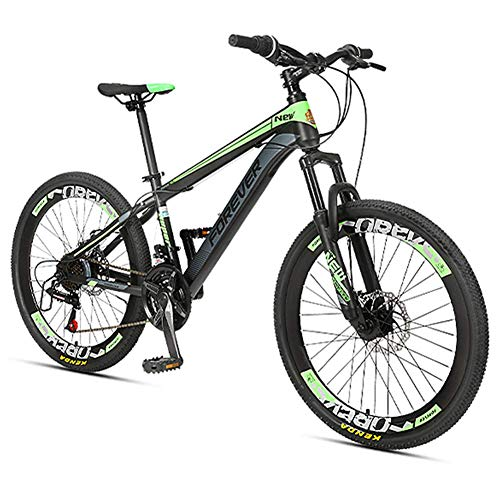 Xiaoyue Kinder-Mountainbikes, 24-Gang-Doppelscheibenbremse-Gebirgsfahrrad, High-Carbon Stahlrahmen, Jungen-Mädchen-Hardtail Mountainbike, Rot, 24 Zoll lalay (Color : Green, Size : 24 Inches)