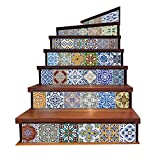Self-Adhesive Kitchen Tile Stickers Tile Decals for Bathroom Stair Sticker, Removable Tile Decals Stickers Vinyl Stair Decals for Tiles Stair Decal Stickers Decorative Tile Stickers 7''x 39''x6PCS