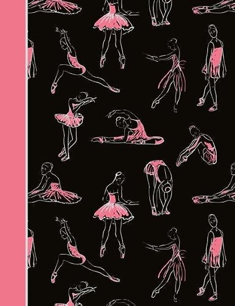 作文笔记本舞蹈芭蕾黑色和粉色学院统治内衬页书 7 44X9 69