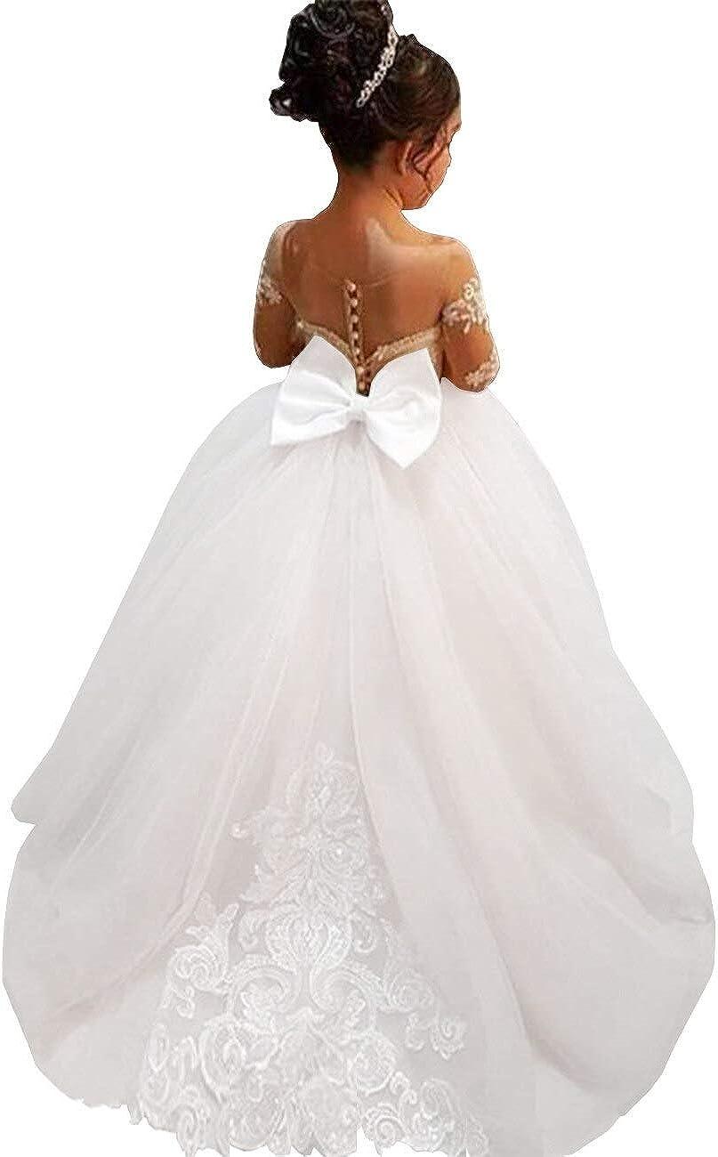MuchXi Lovely Lace Flower Girls Dresses Kids First Communion Dress Princess Wedding Pageant Ball Gown