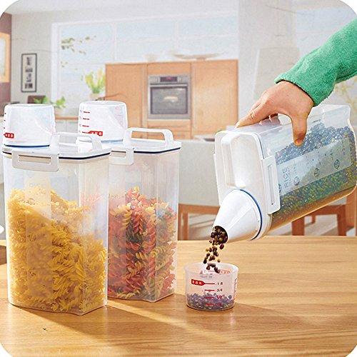 WFRAU Aufbewahrungsbox für Kunststoff-Getreidespender mit Messbecher 2L Transparenter Lebensmittelkorb-Reisbehälter für die Aufbewahrung von Lebensmitteln in der Küche
